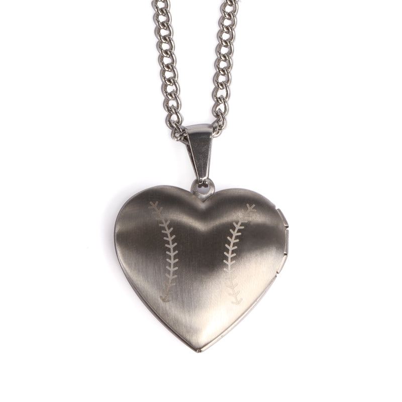 Stainless Baseball Heart Locket and Chain (FREE SHIPPING)