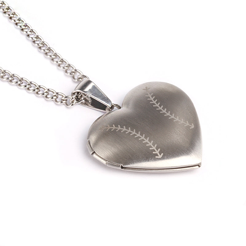 *                                    Stainless Baseball Heart Locket and Chain (FREE SHIPPING)