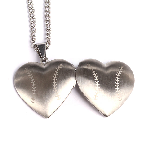 *        NEW * Stainless Baseball Heart Locket and Chain (FREE SHIPPING)