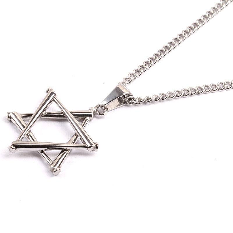 Stainless Star of David Stacked Bat Pendant and Necklace