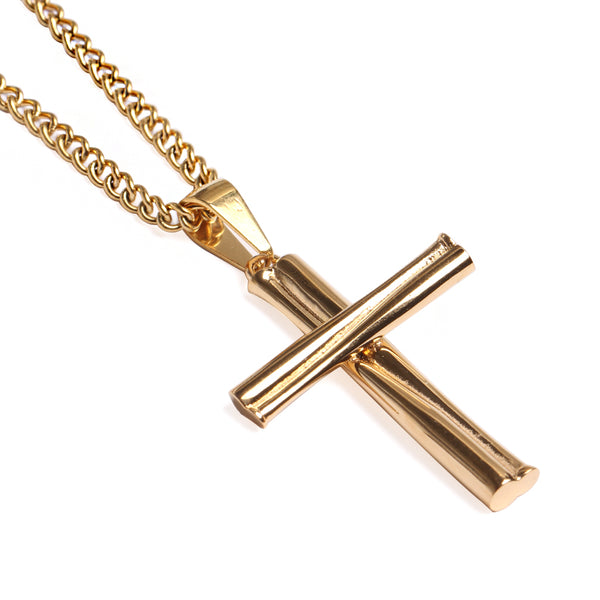 *                        Golden Grand Slam Stacked Cross Bat Pendant and Chain (FREE SHIPPING)