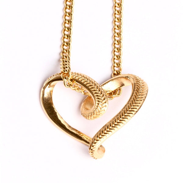 *         NEW * Golden Baseball Stitched Infinity Heart Pendant and Chain (FREE SHIPPING)