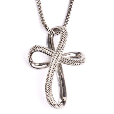 Stainless Infinity Baseball Stitch Cross with Box Chain (FREE SHIPPING)