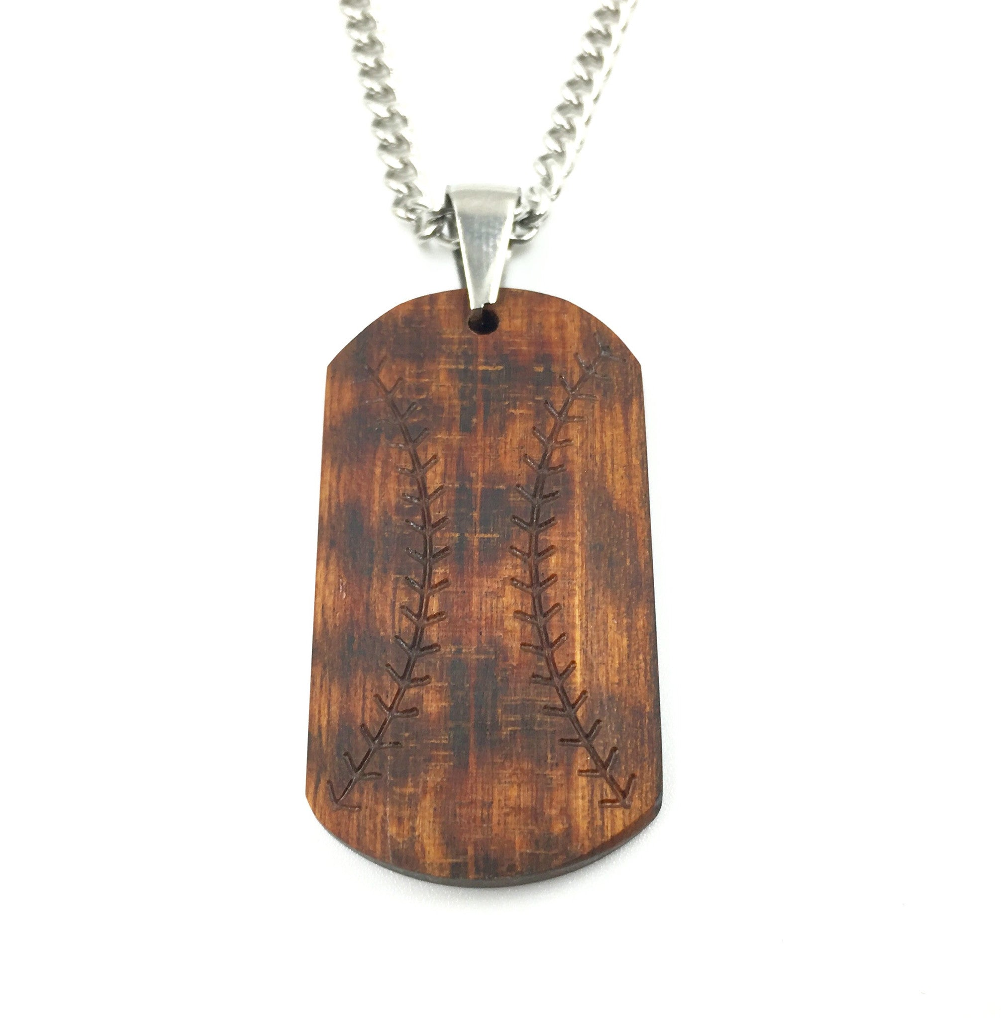 Rake Wood Baseball Bat Pendant and Chain Necklace (FREE SHIPPING)