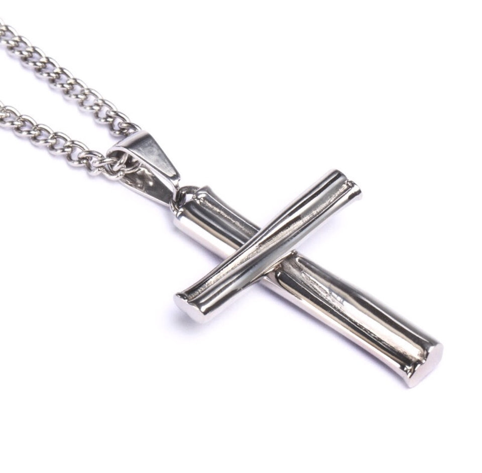 Stainless Grand Slam Stacked Cross Bat Pendant and Chain (FREE SHIPPING)