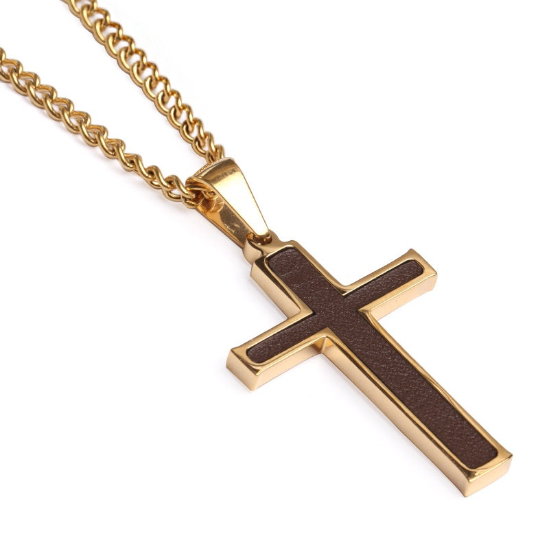 *Golden Baseball Glove Leather Inlay Cross and Chain (FREE SHIPPING)