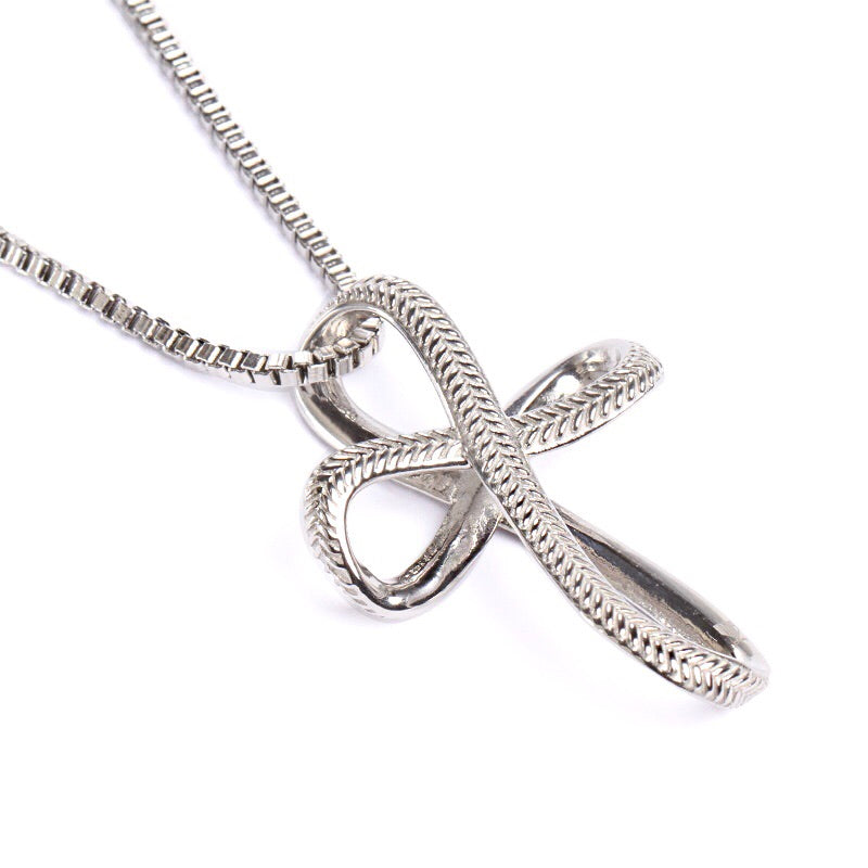 *                                    Stainless Infinity Baseball Stitch Cross with Box Chain (FREE SHIPPING)