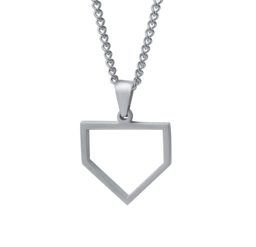 Stainless Home Plate Pendant and Chain (FREE SHIPPING)