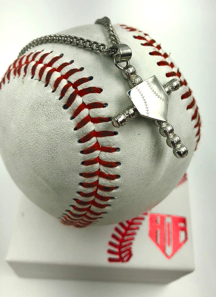 Stainless Baseball Cross with Home Plate Pendant and Chain (FREE SHIPPING)
