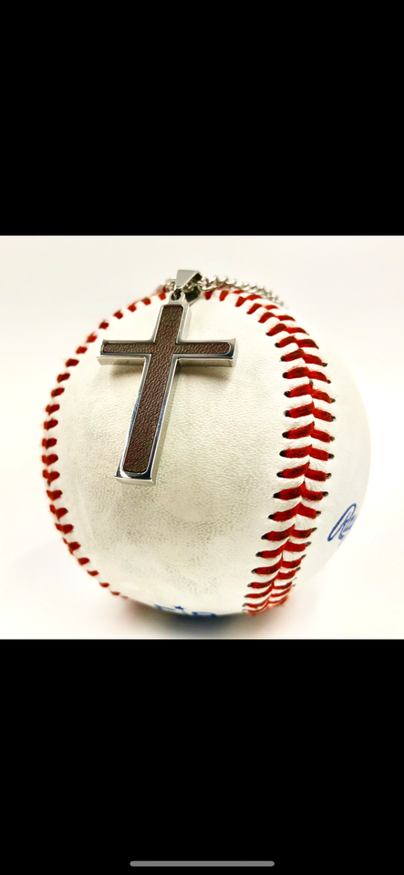 Stainless Baseball Glove Leather Inlay Cross and Chain (FREE SHIPPING)