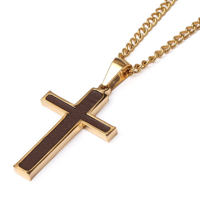 Golden Baseball Glove Leather Inlay Cross and Chain (FREE SHIPPING)