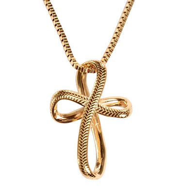 Golden Infinity Baseball Stitched Cross with Box Chain (FREE SHIPPING)