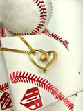 Golden Baseball Stitched Infinity Heart Pendant and Chain (FREE SHIPPING)