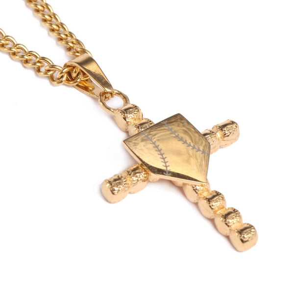 *                                 Golden Baseball Cross with Home Plate Pendant and Chain (FREE SHIPPING)