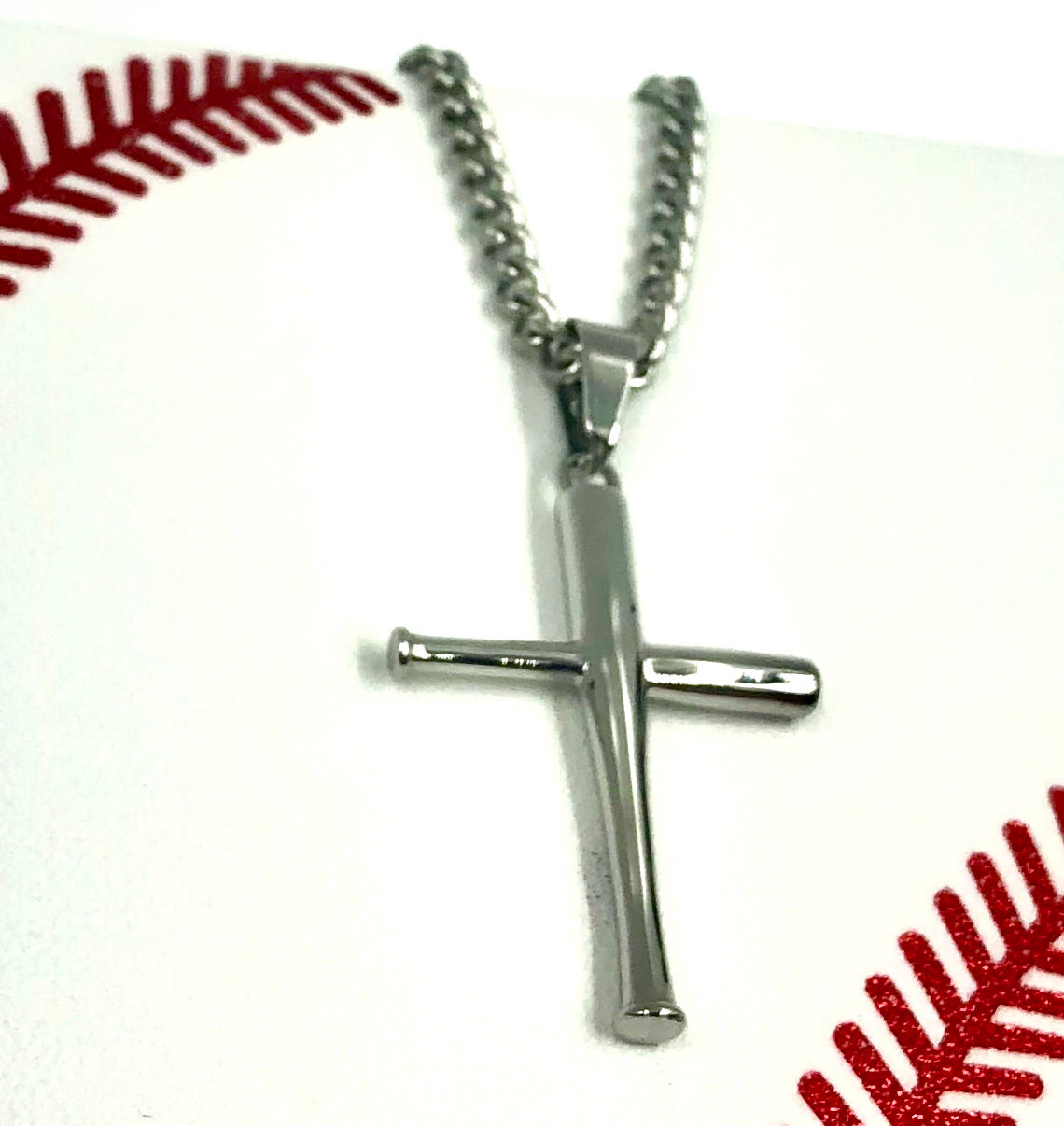 *                                                                                NEW* Stainless Mini Bat Cross with Necklace (FREE SHIPPING)
