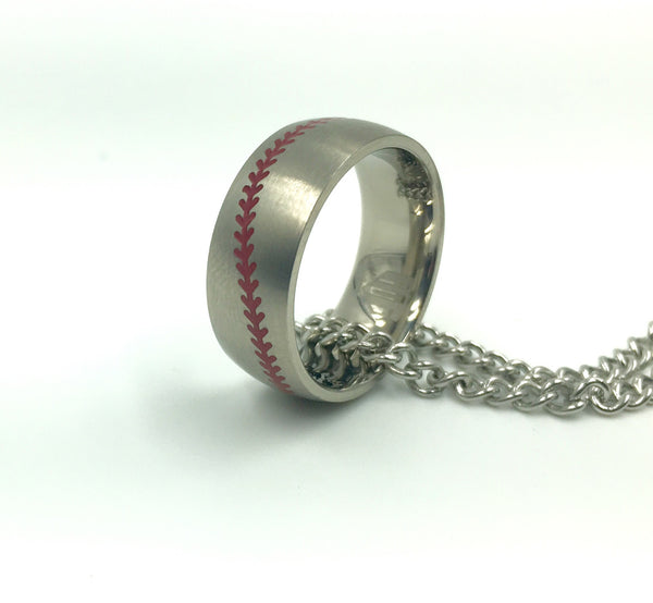 *      8MM Titanium Red Stitch Baseball Ring with Chain Necklace (FREE SHIPPING)