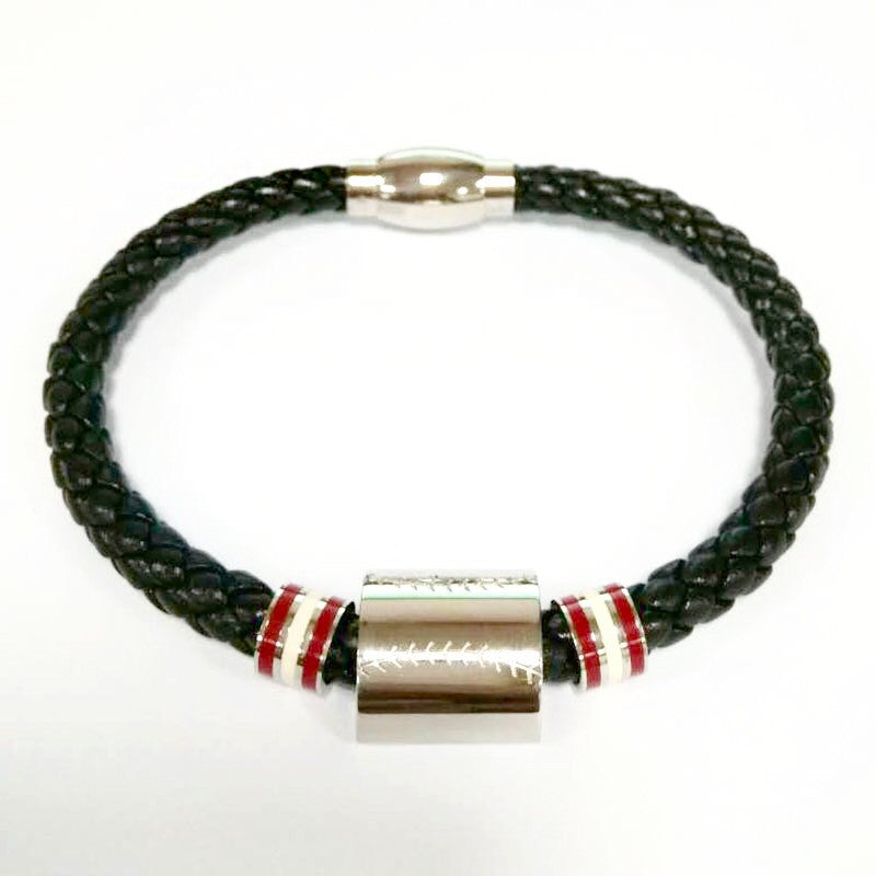 Baseball Leather Stainless Bracelet (FREE SHIPPING)