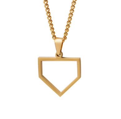 Golden Home Plate Pendant and Chain (FREE SHIPPING)