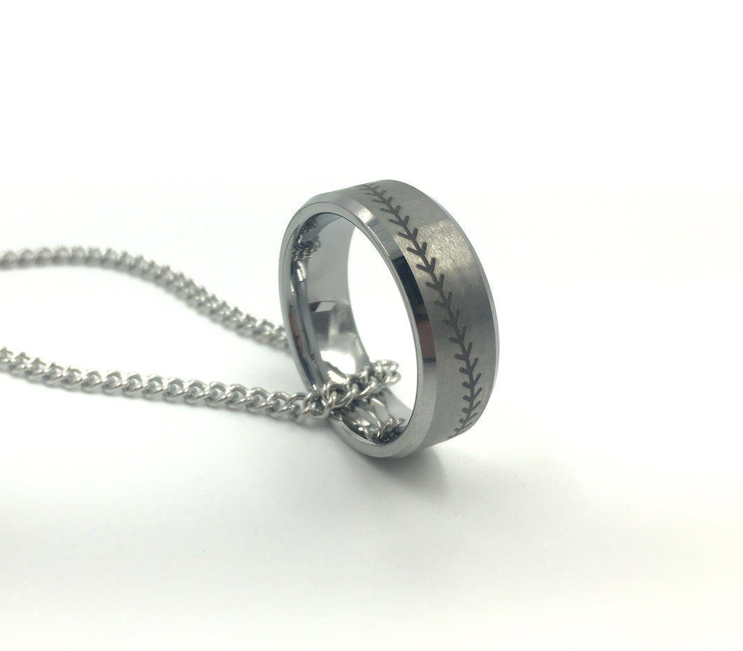 Tungsten 8mm Silver Ring With Baseball Stitching (FREE SHIPPING)