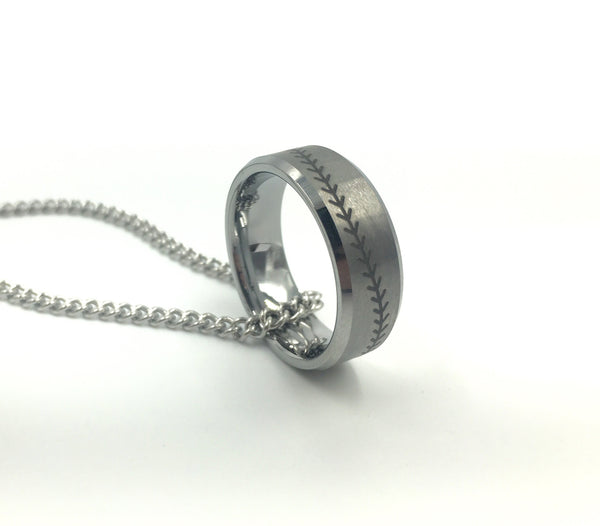8mm Silver Tungsten Ring With Baseball Stitching (FREE SHIPPING)