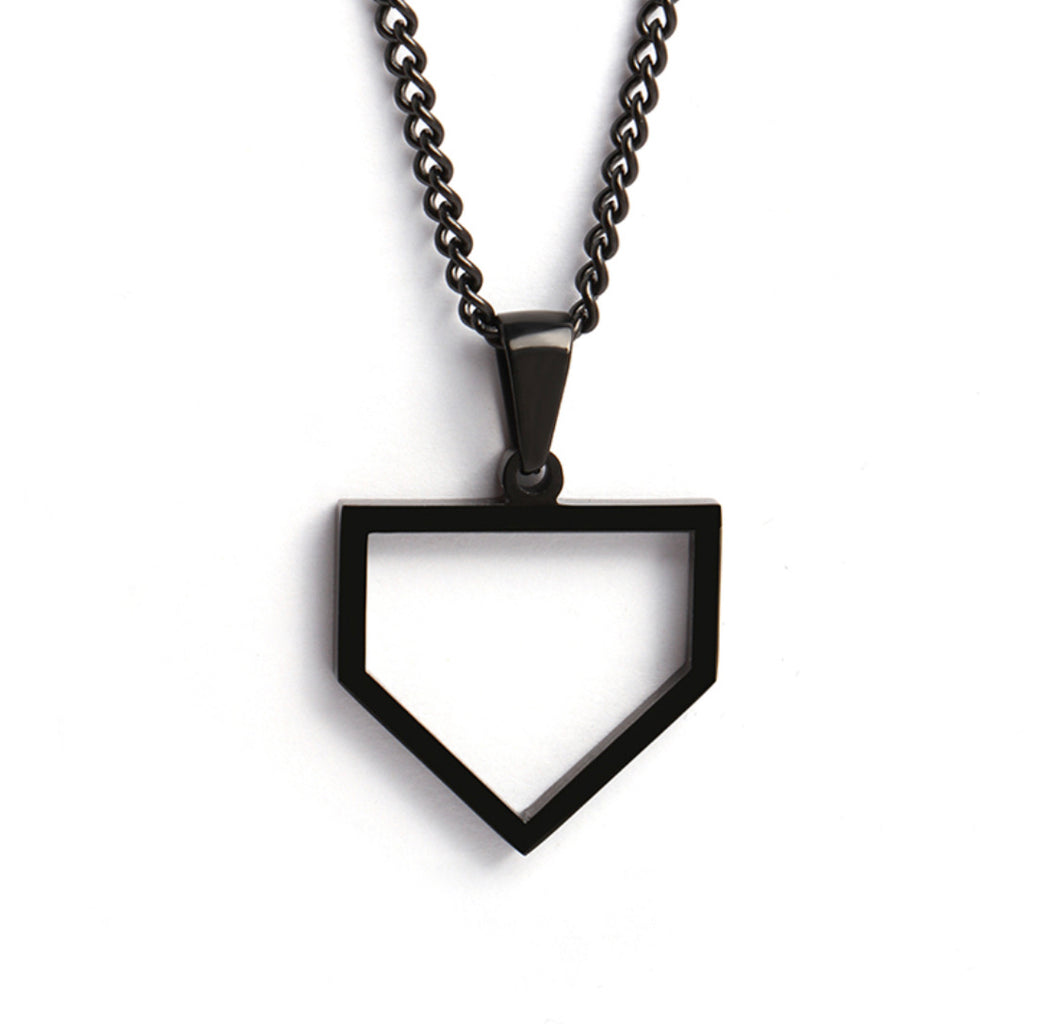 Black Home Plate Pendant and Chain (FREE SHIPPING)