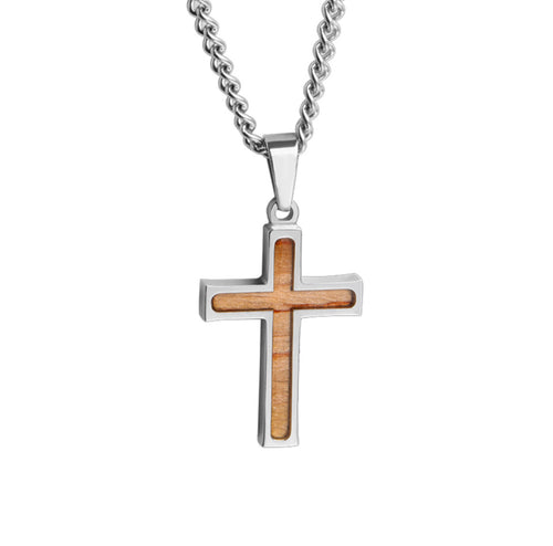 Mini Stainless Bat Wood Inlay Cross Pendant and Chain (FREE SHIPPING)