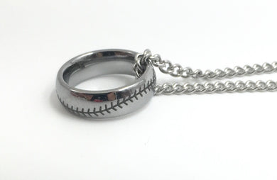 Tungsten 6mm Stainless Ring With Baseball Stitching (FREE SHIPPING)