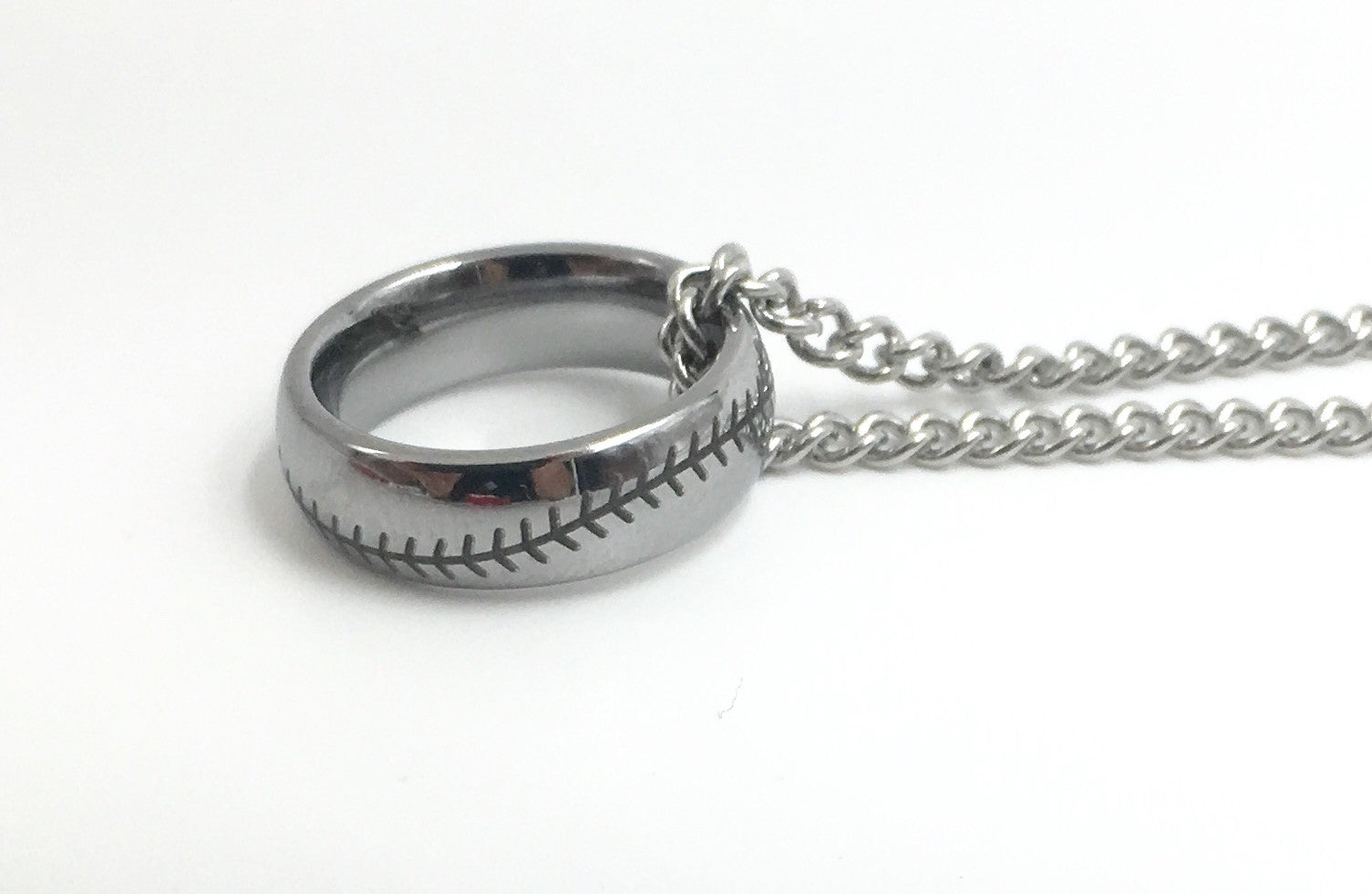 6mm Silver Tungsten Ring With Baseball Stitching (FREE SHIPPING)