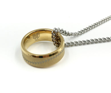 Tungsten 8mm Golden Ring With Baseball Stitching (FREE SHIPPING)