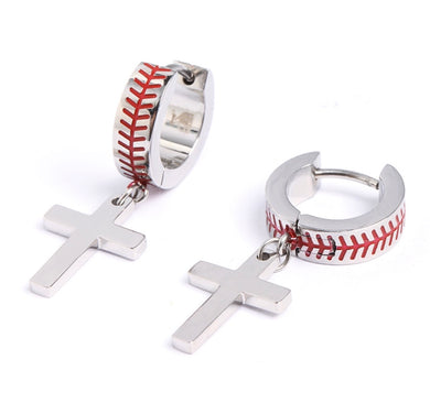 Stainless Baseball Cross Hoop Earrings (FREE SHIPPING)