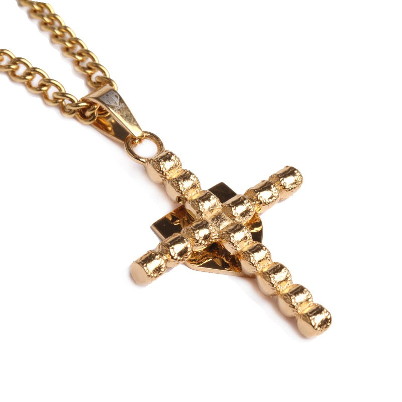 Golden Baseball Cross with Home Plate Pendant and Chain (FREE SHIPPING)