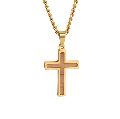 Mini Golden Bat Wood Inlay Cross Pendant and Chain (FREE SHIPPING)