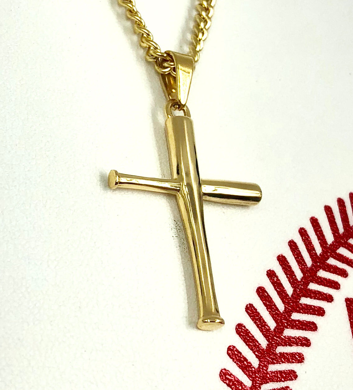 *                                                                           NEW * Golden Mini Bat Cross with Necklace (FREE SHIPPING)
