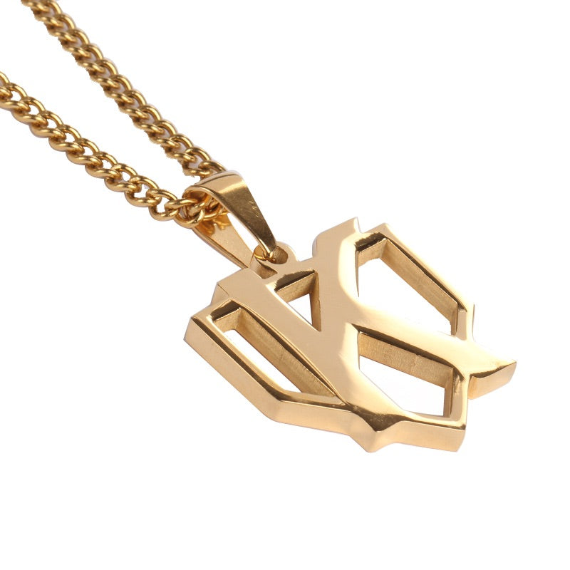Golden Strikeout Pendant with Necklace (FREE SHIPPING)