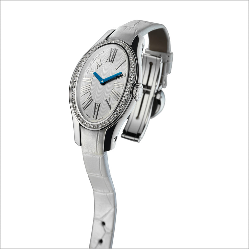 White Leather Strap Watch in 18K Gold with Diamonds