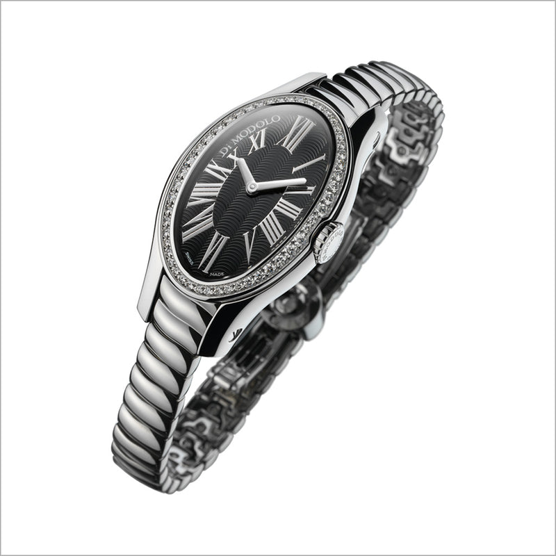18K WHITE GOLD PLATED & DIAMOND WATCH