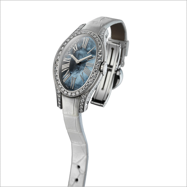 White Leather Strap Watch in 18K Gold with Diamonds & Tahitian Mother of Pearl