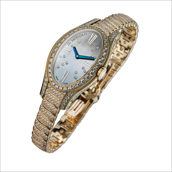 18K YELLOW GOLD & DIAMOND WATCH WITH MOTHER OF PEARL