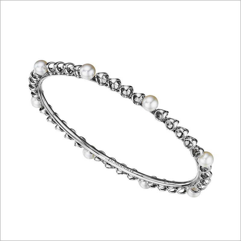 Icona Pearl Stackable Bangle in Sterling Silver