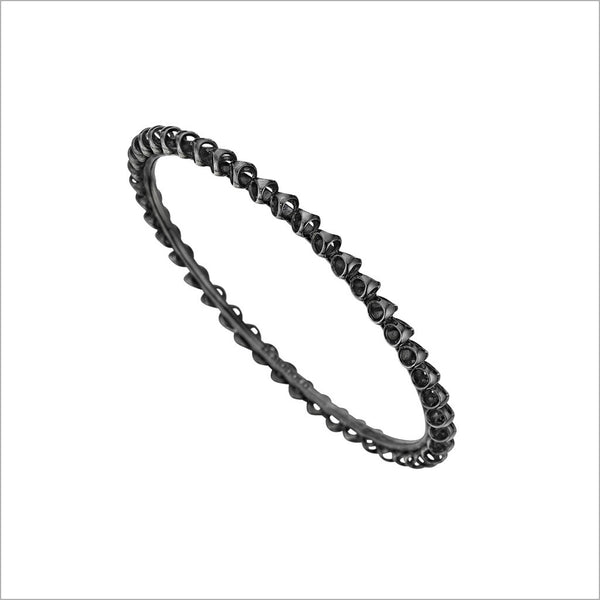 Icona stackable bangle in sterling silver plated with black rhodium