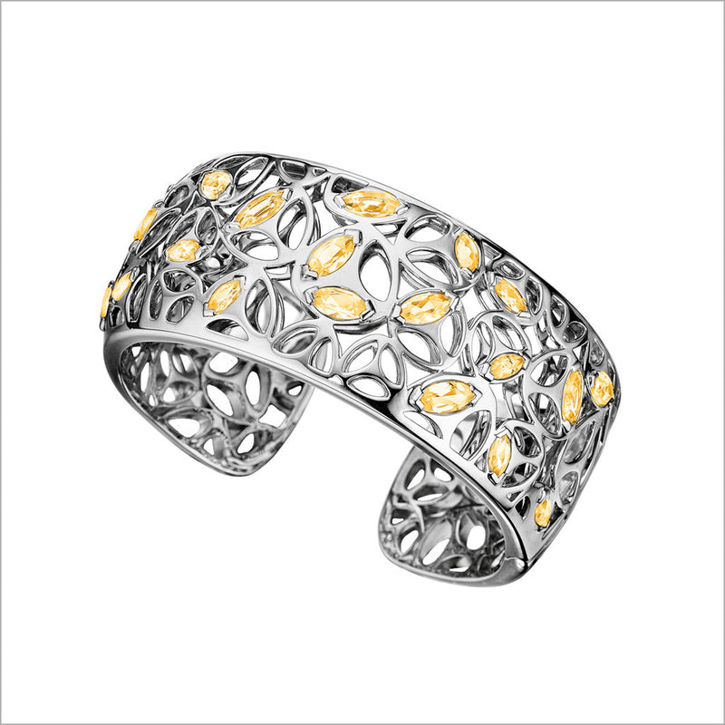 Medallion Golden Quartz Cuff in Sterling Silver