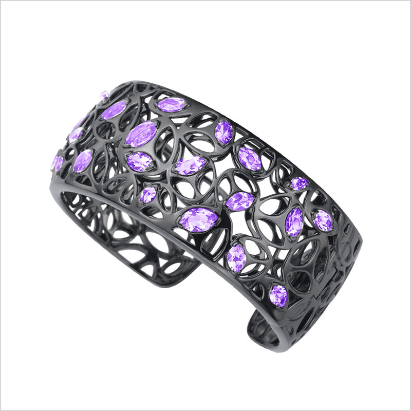 Medallion Purple Quartz Cuff in Sterling Silver plated with Black Rhodium