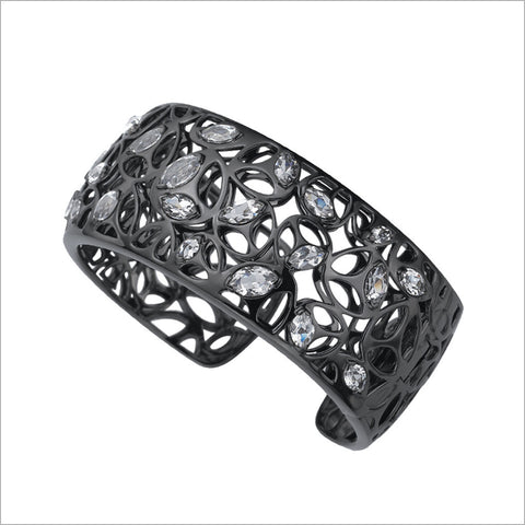 Medallion Rock Crystal Quartz Cuff in Sterling Silver plated with Black Rhodium