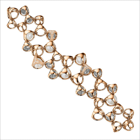 Icona Rock Crystal, Pearl & Diamond Bracelet in Sterling Silver Plated with Rose Gold
