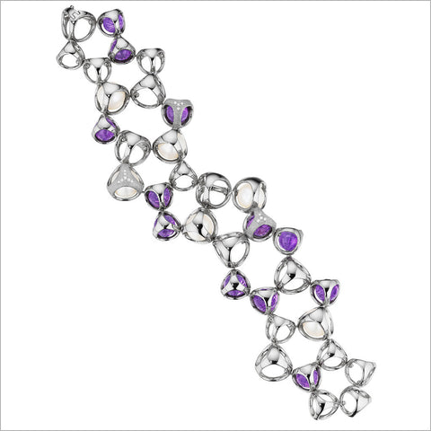 Icona Amethyst & Pearl Double Row Bracelet in Sterling Silver plated with Rhodium with Diamonds
