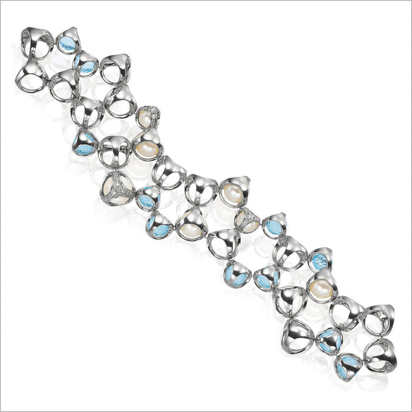 Icona double row bracelet in sterling silver plated with rhodium with blue quartz, pearls and diamonds