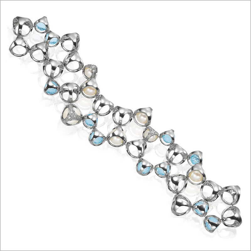 Icona Blue Topaz & Pearl Double Row Bracelet with diamonds in sterling silver plated with rhodium