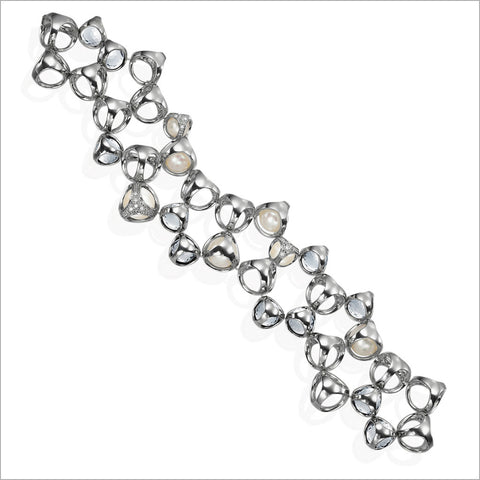 Icona Rose & Rock Crystal Bracelet in Sterling Silver
