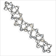 Icona Rock Crystal & Pearl Double Row Bracelet in sterling silver plated with rhodium