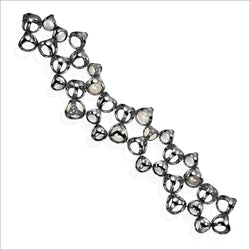 Icona double row bracelet in sterling silver plated with black rhodium with pearls, rock crystal quartz and diamonds
